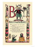 B for Beauty and the Beast Premium Giclee Print by Tony Sarge