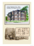 Four-Apartment Two-Story Building Prints by Geo E. Miller