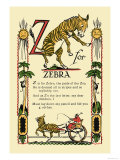 Z for Zebra Premium Giclee Print by Tony Sarge