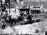 Three Men and Trolley, Philadelphia, Pennsylvania Photo