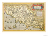Map of Italian Coast above Rome Prints by Abraham Ortelius