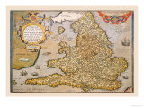 Map of England Posters by Abraham Ortelius
