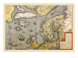 Map of North Sea Posters by Abraham Ortelius
