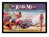 Kar-Mi Swallows a Loaded Gun Barrel and Shoots a Cracker from a Man&#39;s Head Posters by Joseph B. Hallworth