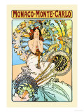 Monaco, Monte Carlo Print by Alphonse Mucha