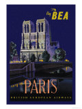 Be Paris and Notre Dame Cathedral Posters by Daphne Padden