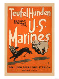 Teufel Hunden German Nickname for U S Marines Print by Charles Buckles Falls