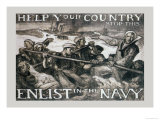 Help Your Country Stop This. Enlist in the Navy Poster by Frank Brangwyn