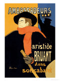 Ambassadeurs: Aristide Bruant dans Son Cabaret Poster tekijänä Henri de Toulouse-Lautrec