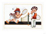 Les enfants jouant au tennis Affiches