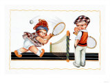 Children Playing Tennis Posters