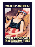 Wake Up, America! Premium Giclee Print by James Montgomery Flagg