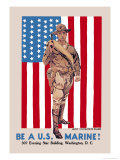 Be a U.S. Marine, Evening Star Building Premium Giclee Print by James Montgomery Flagg