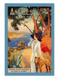 Antibes, Lady in White with Parasol and Dog Print by David Dellepiane
