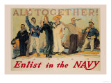 All Together! Enlist in the Navy Prints by  Reuterdahl