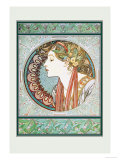Woman&#39;s Profile Foto von Alphonse Mucha
