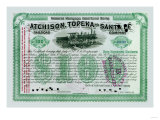 Atchison, Topeka and Santa Fe Stock Certificate Print