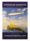 Hamburg America Lines Flies over the Ocean and Isthmus Poster by E. Bauer