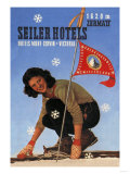 Seiler Hotel: Woman Adjusting Skis Print