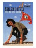 Seiler Hotel: Woman Adjusting Skis Print