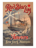 Red Star Cruise Line: Antwerp, New York, and Philadelphia Poster by C. Satzmann