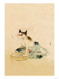 Japanese Cat Bathing Premium Giclee Print