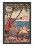 Messageries Maritimes French Cruise Line Ports Posters