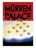 Murren Palace: Skiing at Sunset Premium Giclee Print by Willy Trap