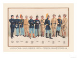 Uniforms: 4 Cavalry, 2 Engineers, 1 Hospital, 2 Staff, 2 Signal Corps, 1899 Posters par Arthur Wagner