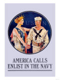 America Calls, Enlist in the Navy Prints
