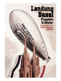 Graf Zeppelin Flies over the Cathedral in Basel Switzerland Posters by Otto Jacob Plattner