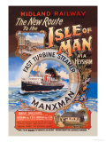 New Route to the Isle of Man Via Heysham on the Fast Turbine Steamer Manxman Posters by Herbert Steventon