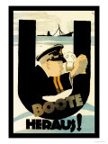 The U-Boats Are Out Poster by Hans Rudi Erdt