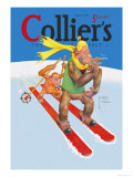 Skiing Monkeys Affischer av Lawson Wood
