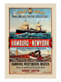 Direct Post Office Shipping Hamburg to New York Posters