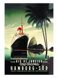Croisière de Hamburg vers Rio de Janeiro sur le paquebot Cap Arcona - Affiche vintage de la compagnie Hamburg-Süd Posters