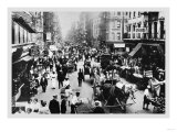People, Peddlers, and Horse-Drawn Carriages on a Lower East Side Street Poster