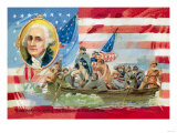 Washington Crossing the Delaware, With Portrait Inset Posters