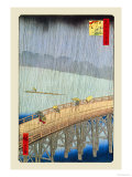 Great Bridge, Sudden Shower at Atake Prints by Ando Hiroshige
