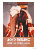 Lloyd Triestino Espresso Itali India Art by Marcello Dudovich