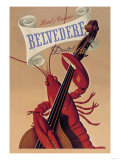 Lobster Musician at the Belvedere Hotel and Casino Posters