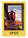 Spain: Guitar and Oranges Posters