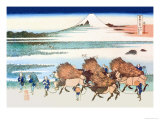 Merchants Travel to Market in View of Mount Fuji Poster by Katsushika Hokusai