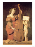 Cherub Holds Music Book for Woman Playing the Cello Photo