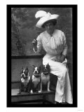 Mrs. Rhoades and Her Three Boston Terriers Print