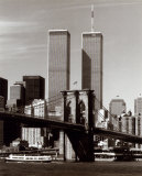 World Trade Center and Brooklyn Bridge Affiches par Walter Gritsik