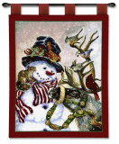 Snowman and Prancer Wall Tapestry by Donna Race