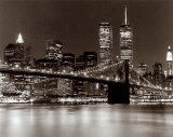 Over the Brooklyn Bridge at Night Plakat af Walter Gritsik