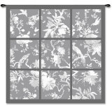 Floral Division in Gray Wall Tapestry