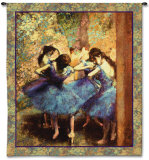 Dancers in Blue Wall Tapestry by Edgar Degas